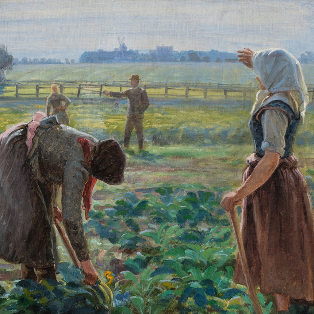 Johannes Wilhjelm, Polish Female Seasonal Workers in the Field at Øllingsøe, Lolland. c.1910. Fuglsang Kunstmuseum (detail)