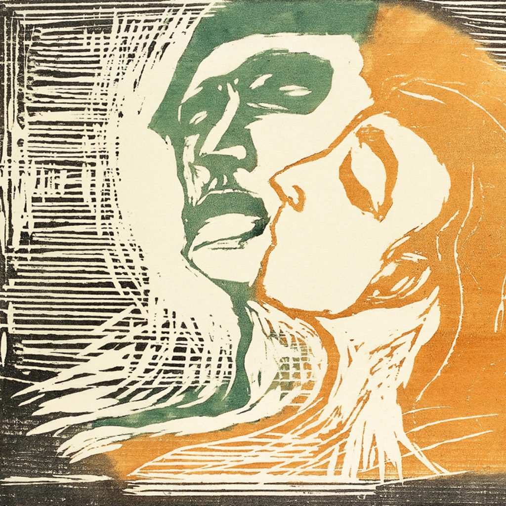 Edvard Munch, Head by head, 1905, colour woodcut, sheet 450 x 595 mm. Private collection (detail)